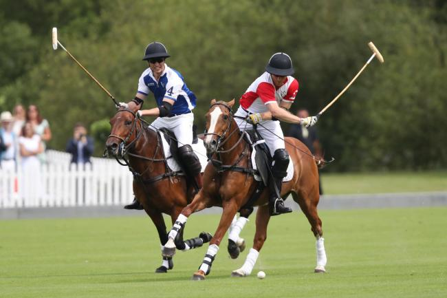 Harry and William duke it out in charity polo match watched