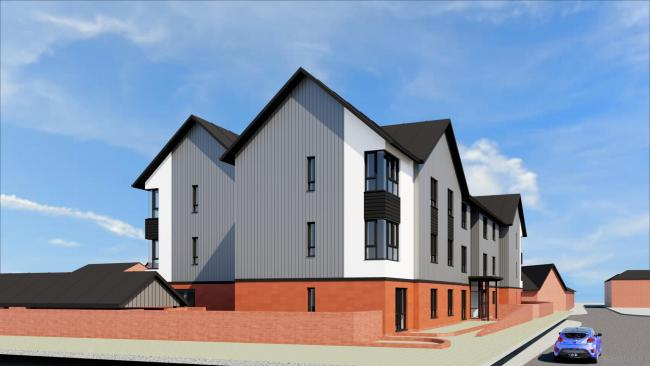 An artist's impression of how the flats on the bowling green site in Newtown should look once completed. Picture: Powys County Council