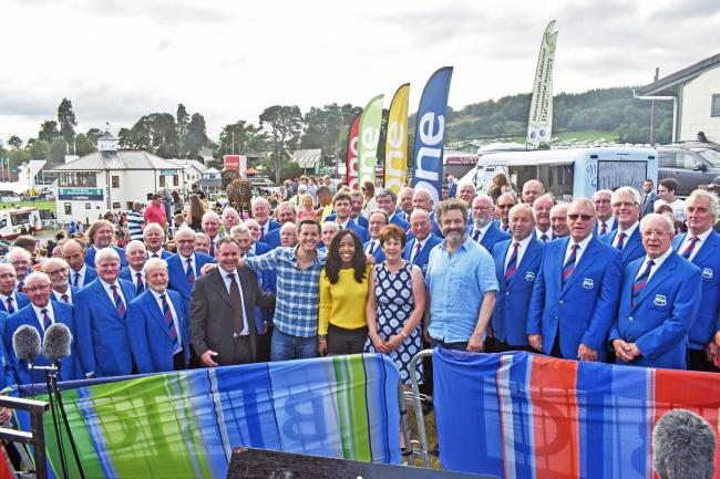 Builth Male Voice Choir with BBC 'The One Show's' Matt Baker, Angellica Bell and Hollywood star Michael Sheen at the Royal Welsh Show.