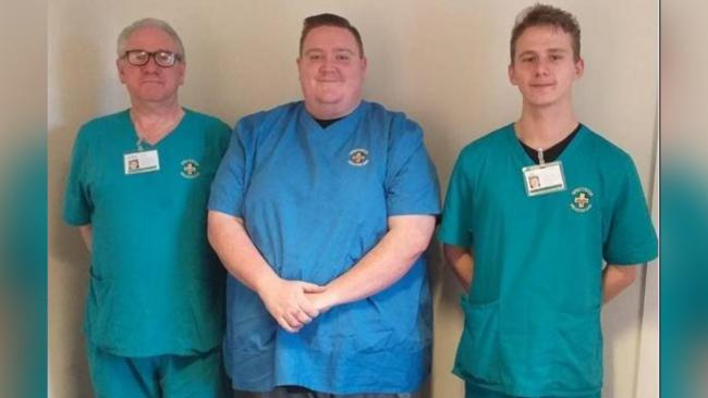 Robert Morgan (left) is pictured with fellow homecare workers Tim Johnson (care co-ordinator) and Ryan Edwards (health care assistant).