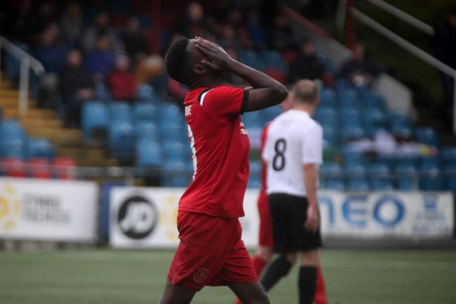 Lufumpa Mwande opened his account for Newtown last week. Picture by Rob Davies.