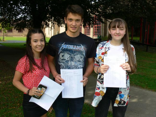 Among the GCSE stars at Llanidloes High School are, from left, Nia Pal who achieved 10 A* and two A grades; Greg Garcia-Humphreys who achieved six A* and two A grades; and Holly Powell who achieved five A* and six A grades).