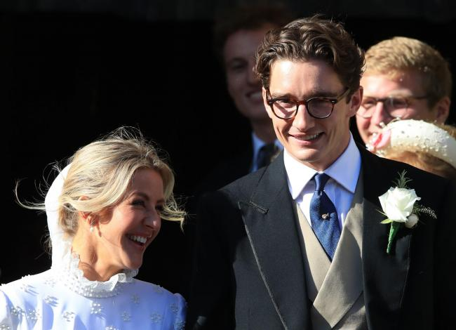 Newly married Ellie Goulding and Caspar Jopling leave York Minster after their wedding. PRESS ASSOCIATION Photo. Picture date: Saturday August 31, 2019. See PA story SHOWBIZ Goulding. Photo credit should read: Peter Byrne/PA Wire.