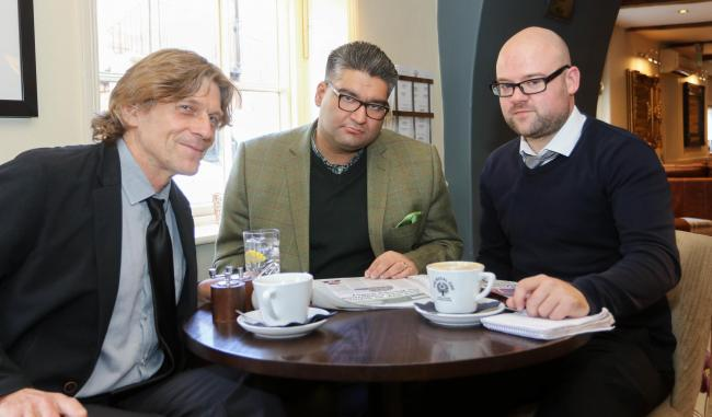 Pictured is Kishan Devani (Liberal Democrats) Nick Knight (County Times Editor) and Rory Sheehan (County Times Chief Reporter).Picture by Phil Blagg..PB407-2019-14.