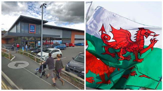 Aldi Welshpoool (Google Maps) and Welsh flags (National Assembly of Wales)