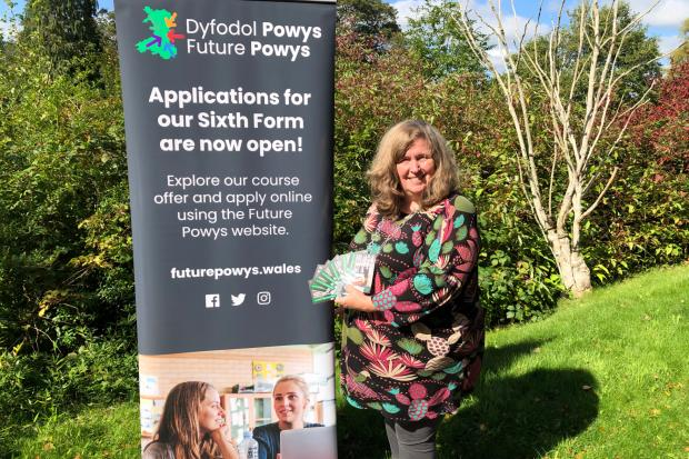 Cllr Myfanwy Alexander, Powys County Council Cabinet Member for Learning and Welsh Language, launching the new brand for Sixth Forms in Powys.