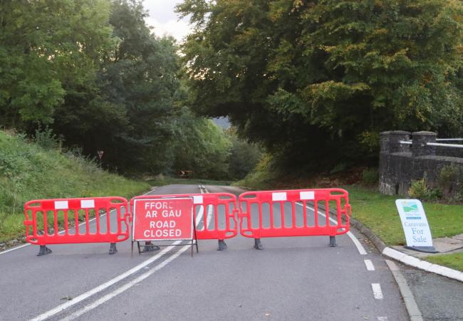 A mud slide on the A490, between the junction of the A495 and Pentre'r Beirdd, near to Valley View Holiday Park, has closed the road. Picture: Phil Blagg. PB445-2019-2.