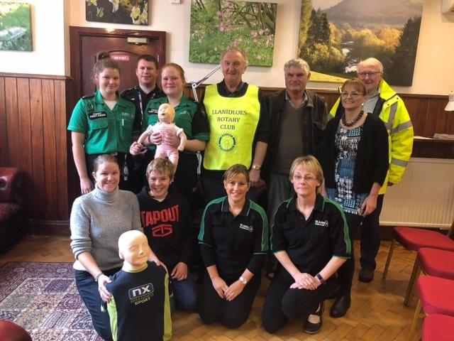 Llanidloes Rotary Club held a Free Difibrillator Training Day on September 28. Pictured are St John Ambulance volunteers and helpers. Photo: Rotary Club of Llanidloes.