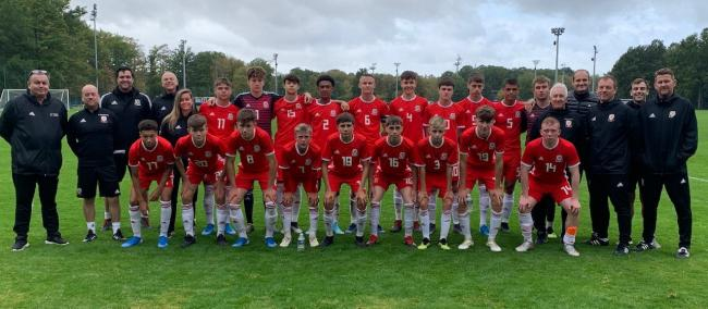 Welshpook's Mike Williams with the Welsh under 16s squad in France.