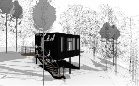 The proposed cabin for Llidiart Wood.