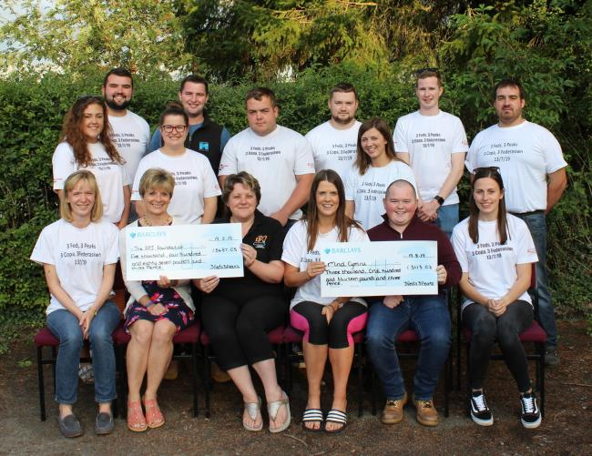 Powys YFC officials and Suzanne Kendrick making a presentation of donations to The DPJ Foundation.