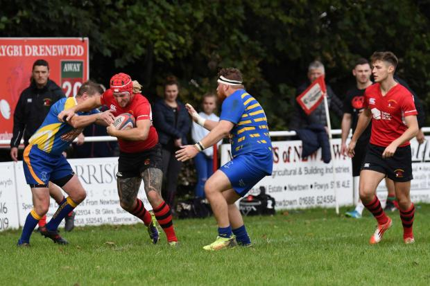 Action from Newtown's clash with Aberaeron. Picture by John Lafferty.
