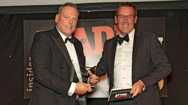 William Watkins, left, receiving the award at the Made in Wales awards at Cardiff.