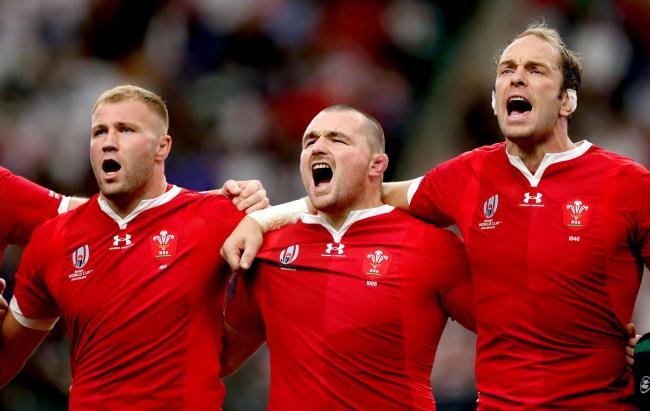 Wales' Ross Moriarty, Ken Owens and Alun Wyn Jones. Picture: PA