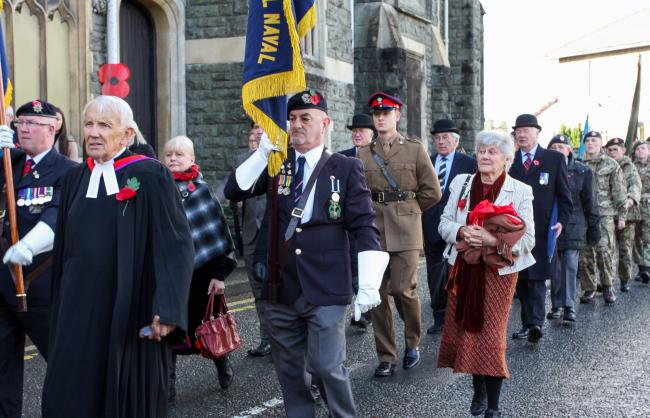 Part of the Remembrance Day parade on route to the Cenotaph at Builth Wells for the laying of poppy wreaths. Picture: Ernie Husson