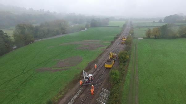 A drone image of work being carried out on the Abergavenny to Hereford track.