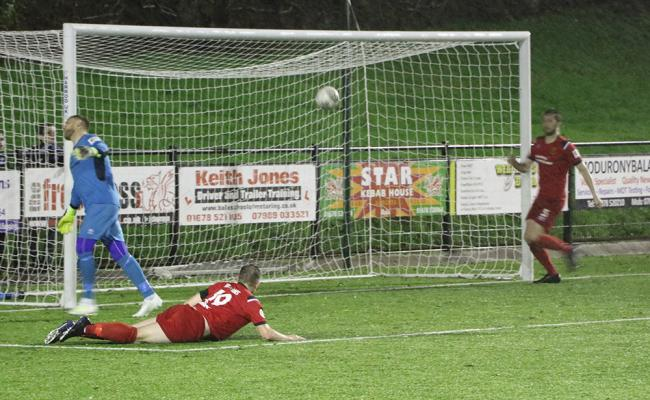 Action from Newtown's clash at Bala Town. Picture by Hannah Jones.