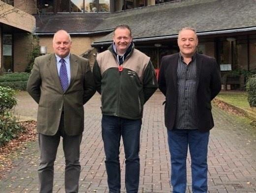 Action For Powys councillors - left Cllr Martin Weale, centre Cllr Jon Williams and right Cllr Jeremy Pugh.