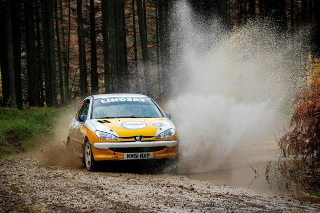 Barry Lindsay and Caroline Lodge on their way to championship success at last weekend?s Malton Forest Rally - Flying Finish Photograph