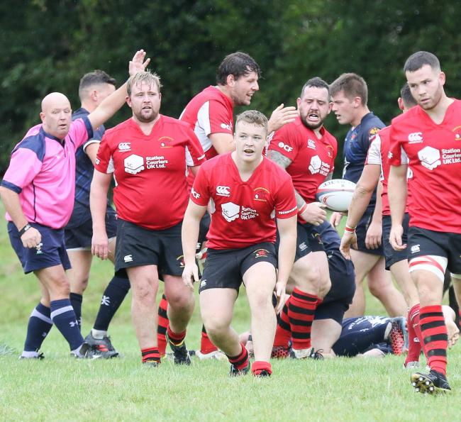 Welshpool v Newtown Rugby.pictured is Newtown's 2nd try..Picture by Phil Blagg..PB533-2018-8.