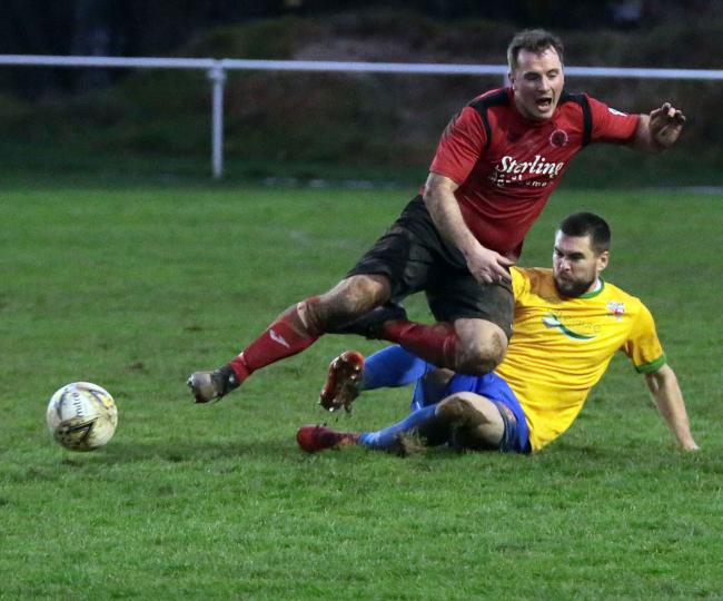 SP2811 Football15 Photo Code APJ28November15 Photo Arvid Parry Jones. 28November2019 Ref Adam. Penrhyncoch v Prestatyn;  Penrhyncoch Steffan Davies -Prestatyn Cai Edwards..