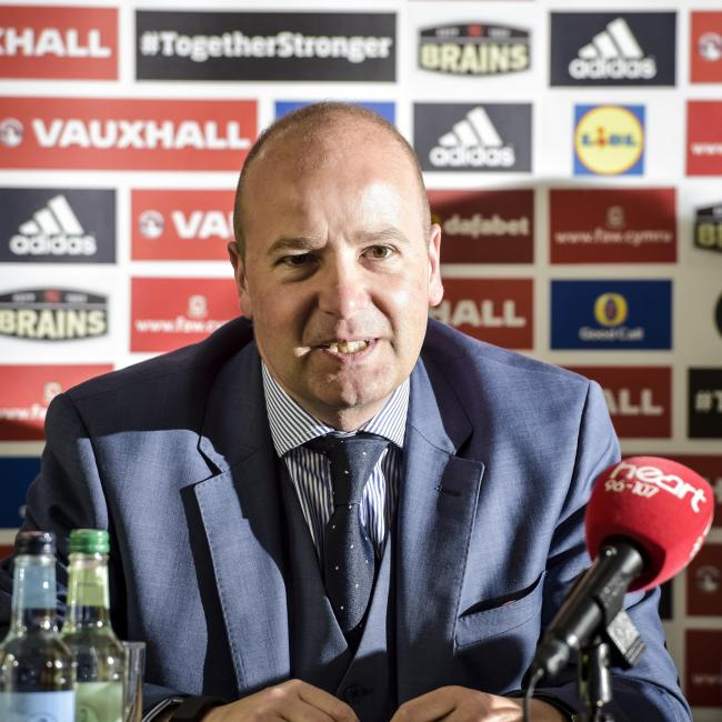 Football Association Wales Chief Executive Jonathan Ford during a press conference at The Vale Resort, Hensol..