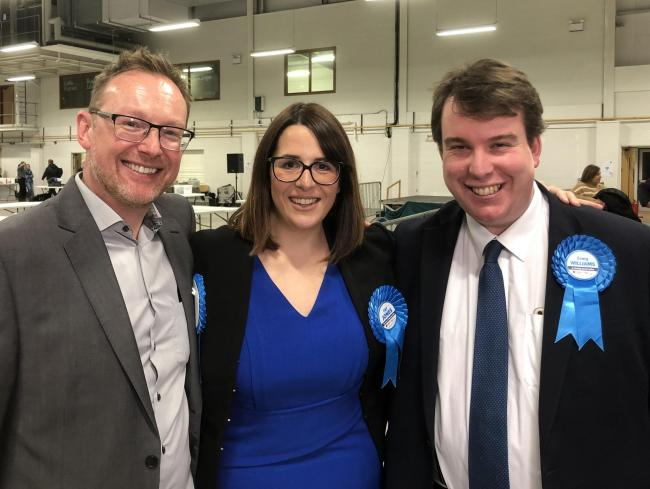 Russell George AM (left) alongside the new Welsh Conservative MP for Montgomeryshire, Craig Williams, and MP for Brecon & Radnorshire, Fay Jones, following the Powys General Election count in Builth Wells on the morning of Friday, December 13.