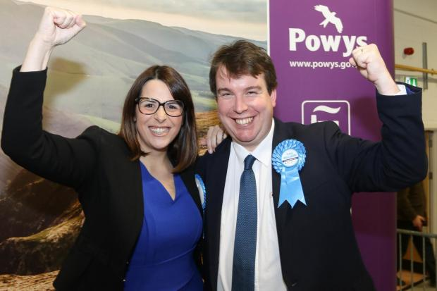 Montgomeryshire and Brecon and Radnorshire General Election count in Builth Wells. Pictured is Fay Jones and Craig Williams. Picture By Phil Blagg. PB610-2019-122.