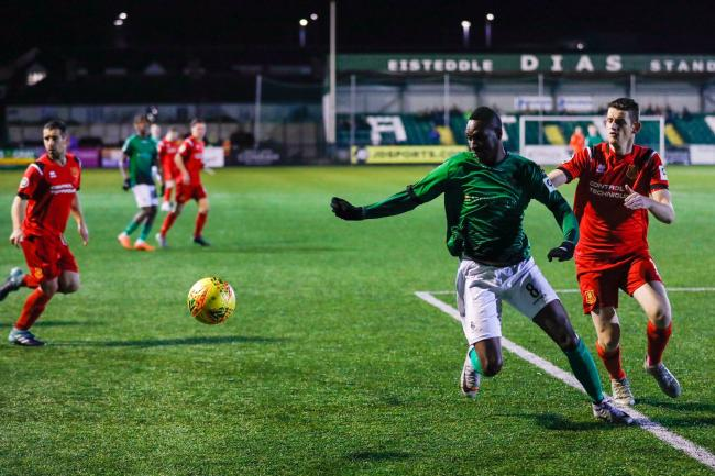 Action from Newtown's clash at Aberystwyth Town. Picture by Colin Ewart.