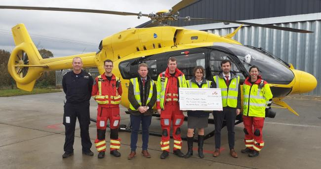 Estate agents' team from Mid Wales raises £2,100 for Air Ambulance
