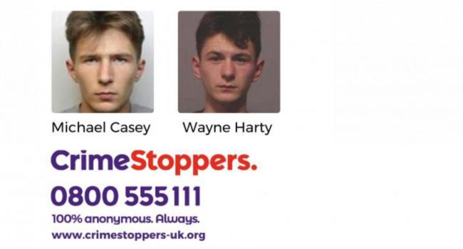 Crimestoppers is appealing for information on Michael Casey and Wayne Harty.