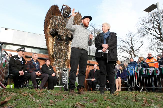 Newtown East Cllr Joy Jones with Knife Angel sculptor Alfie Bradley in Newtown. Picture: Rob Davies