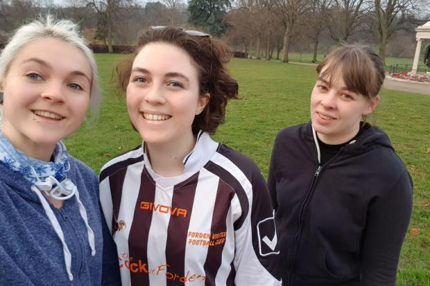 County Times reporter Josie Le Vay and her housemates Parkrunning on News Year's Day in preparation for the Welshpool 10K.