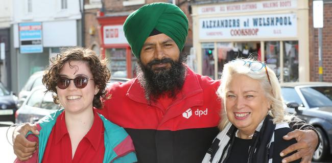 Vox Pop in Welshpool. Pictured is County Times reporter Josie Le Vay, DPD delivery driver Charandit Singh and Charmene Rogers. Picture by Phil Blagg. PB437-2019-8