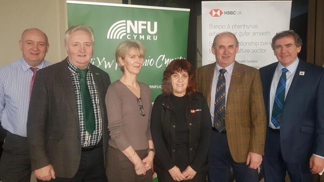 At the meeting (from left) are: NFU Cymru president, John Davies; Brecon and Radnor county chairman, Geraint Watkins; guest speaker, NFU climate change adviser, Dr Ceris Jones; former Brecon and Radnor NFU Cymru county chairman, Rob Lewis and NFU Cymru de