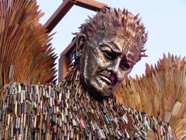 Cheryl Whittingham captured the 'Knife Angel' at Newtown before it left earlier this year