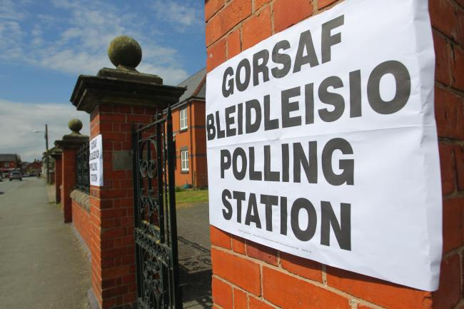 A polling station in Caersws. Picture by Mike Sheridan.