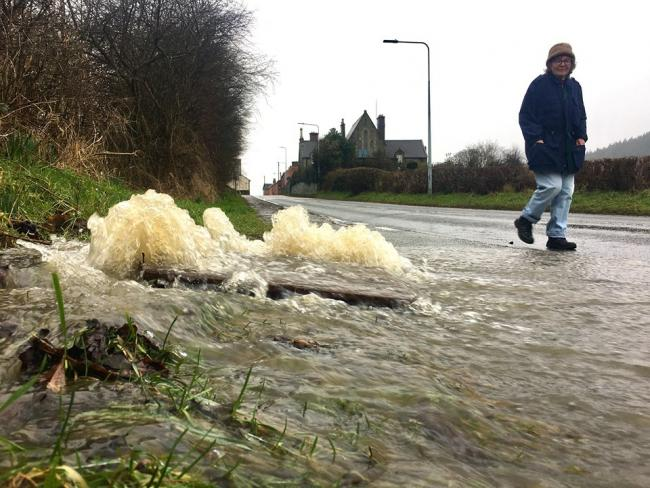 Drains overflow with rain water in Kerry. Picture by Rob Davies.