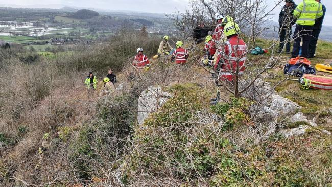 Emergency serivices rescued a person who fell 10 feet down a steep bank at Llanymynech Golf Club on Monday, February 17. Picture by Welshpool Fire Station.