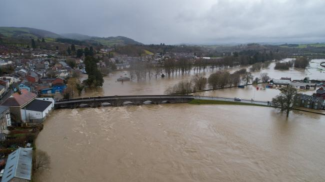 River Wye in Builth Wells burst its banks on Sunday, February 16. Picture by Tremio AP.