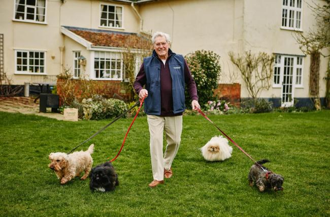 Peter Purves with his Pekingese dogs