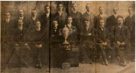 The Royal Welsh Warehouse team which won the Montgomeryshire Cup in 1914.