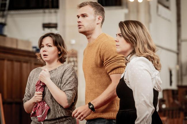 Pictured in rehearsals are Russian soprano Galina Averina is Susanna, Canadian-born soprano Jana Holesworth is the Countess, and British baritone Harry Thatcher as Figaro.