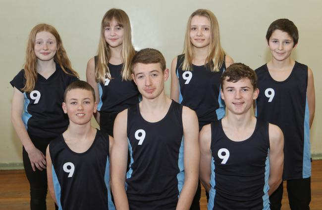 Llanfyllin High School..Powys Cross Country pupils selected for the Welsh Championships in Brecon..Pictured front left to right, Evan Roberts, Deri McCluskey, and Tom Williams..Back left to right, Manon Ellis Jones, Elesni Woodman, Erin Holdsworth and Cha