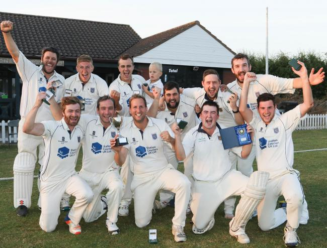 Junior slam T20 Final Montgomery v Hobnet, Peplow and Tibberton at Bomere Heath cricket club..Pictured are the winners Montgomery Cricket Club celebrating..Picture by Phil Blagg.PB361-2018-107.