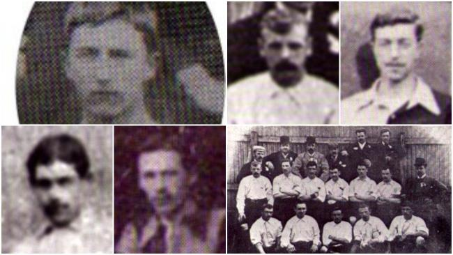 Newtown's football stars from the Victorian era. Pictured (clockwise) are William Ernest Pryce-Jones, Alfred Townsend, Albert Westhead Pryce-Jones, Harold Hibbott, Albert Wilcock and Oliver Taylor (middle row, second left) in the Welsh squad in Belf