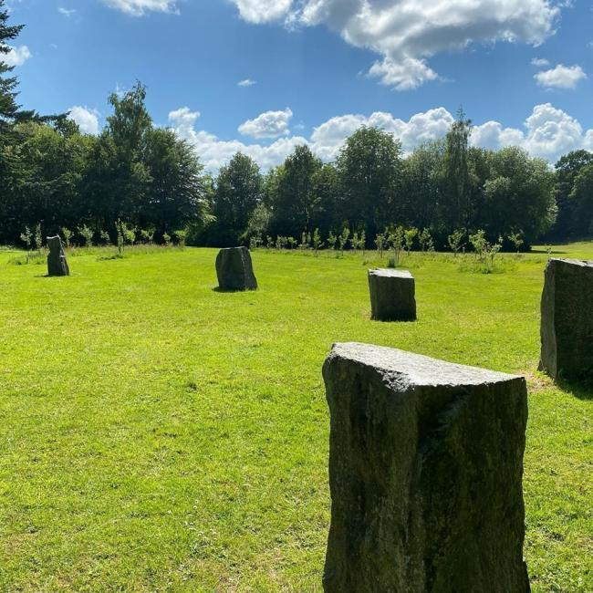 Standing stone circle in Dolerw Park.