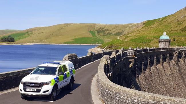 Police in Radnorshire on patrol in the Elan Valley. Picture: Dyfed-Powys Police