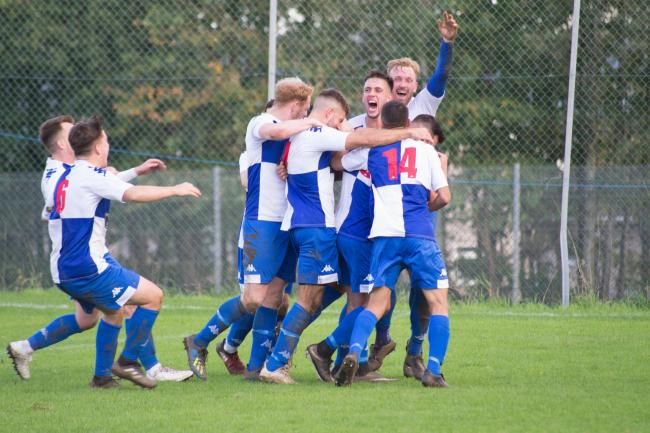 Chepstow Town players celebrating the winning goal against Taffs Well in their 3-2 win in the JD Welsh Cup. Picture: Gareth O'Sullivan.