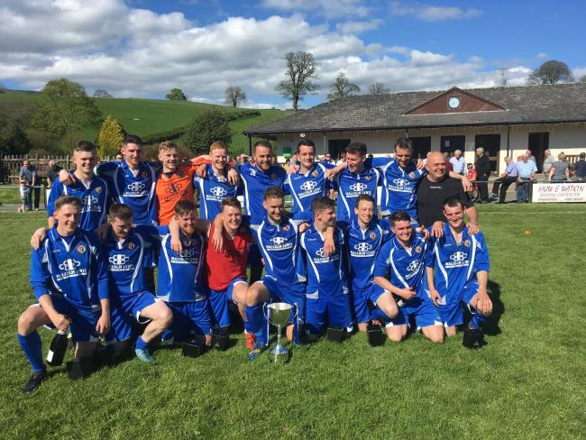 Llanrhaeadr Football Club line up in 2017-18 after winning the MMP-NL Mid Wales League One title.